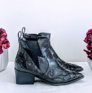 Liliana Black Snakeskin Lightning Bolt Boots